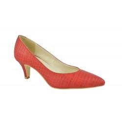 Pantofi Piele Naturala Talia Rosu Croco