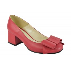 Pantofi Piele Naturala Lidia Rosii Funda