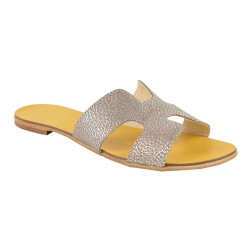 Papuci Piele Naturala Hava Silver