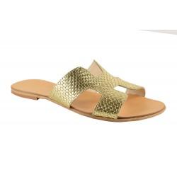Papuci Piele Naturala Hava Gold Croco