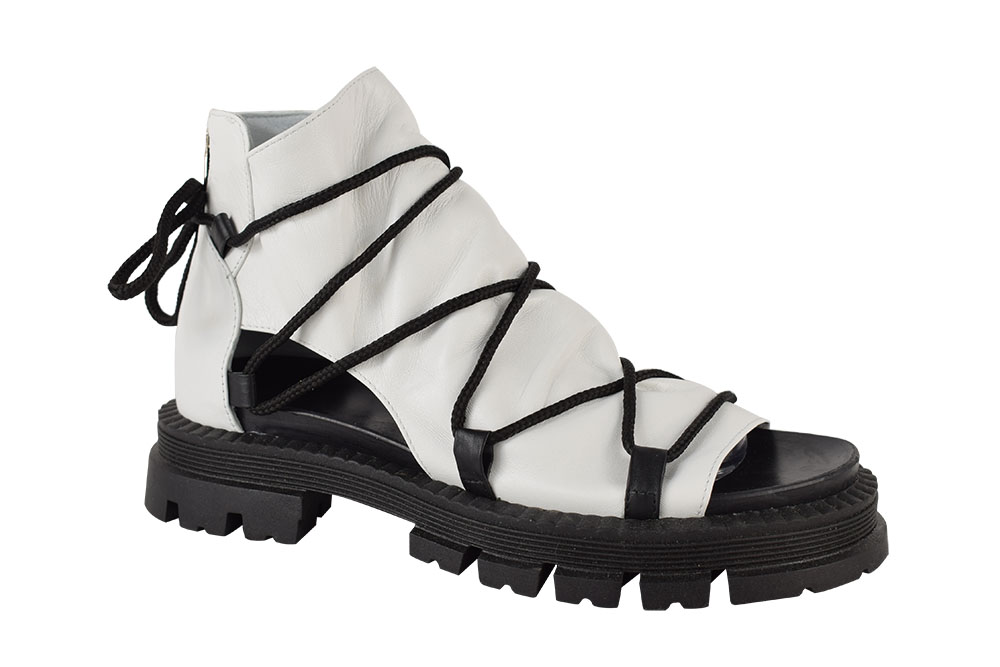 Sandale Piele Naturala Kara-White